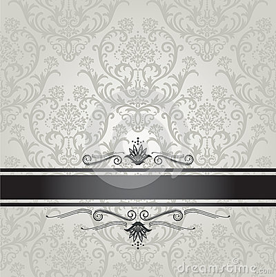 Luxury silver floral wallpaper pattern with black