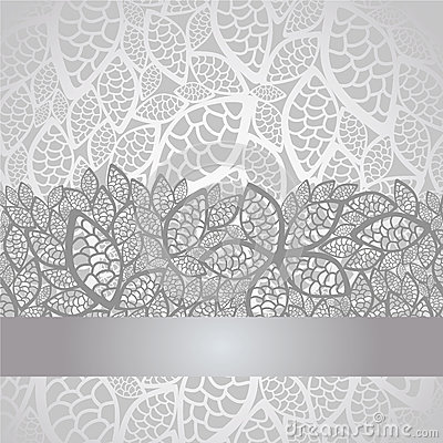 Free Luxury Silver Leaves Lace Border And Background Stock Photo - 26688320