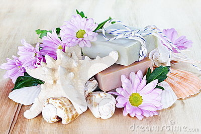 Luxury Soap with Flowers and Shells
