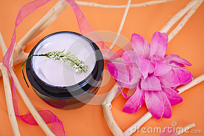Luxury spa product with flower and branches