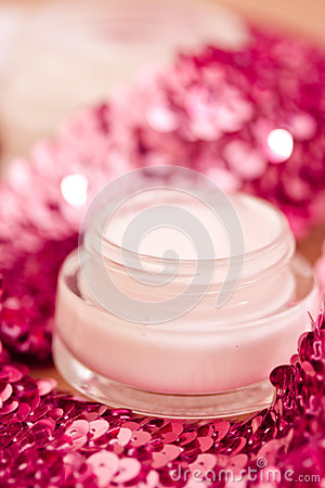 Luxury spa products and pink glitters