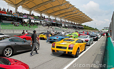 Luxury sport cars joining an event at SUPER GT Editorial Stock Image