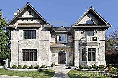 Luxury Stone Home With Balcony Royalty Free Stock Photos