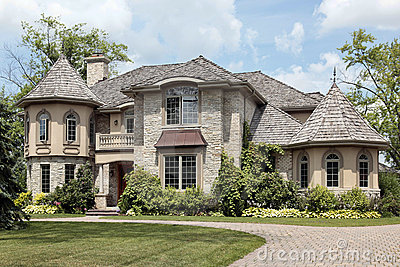 Luxury Stone Home With Turret Royalty Free Stock Images