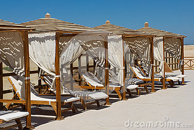 Luxury Sun Lounges on a beach in Soma Bay, Egypt