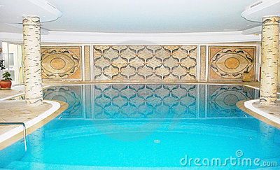 Luxury swimming pool inside spa