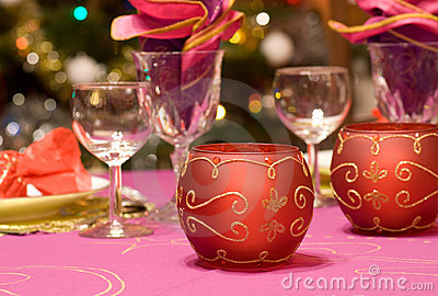 Luxury table set of a dinner