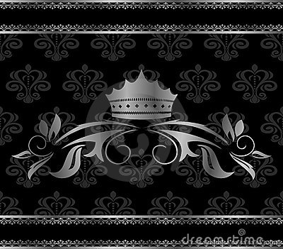 Luxury vintage aluminum frame template with crown