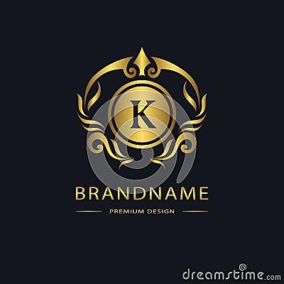 Luxury Vintage logo. Business sign, label. Gold Letter emblem K for badge, crest, Restaurant, Royalty, Boutique brand, Hotel, Vector Illustration