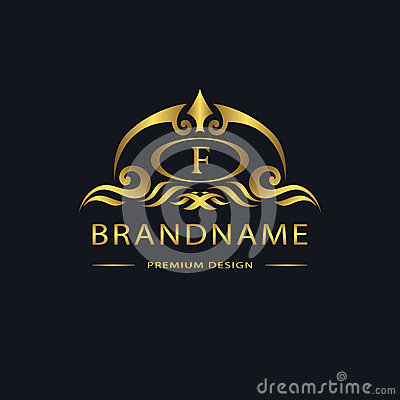 Luxury Vintage logo. Business sign, label, Letter emblem F for badge, crest, Restaurant, Royalty, Boutique brand, Hotel, Heraldic, Vector Illustration
