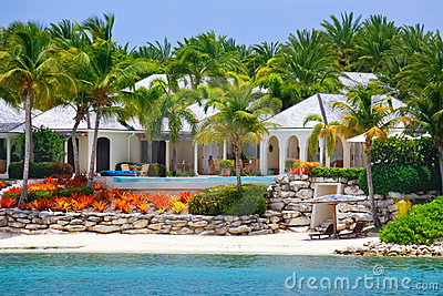 Luxury waterfront house with pool on Antigua