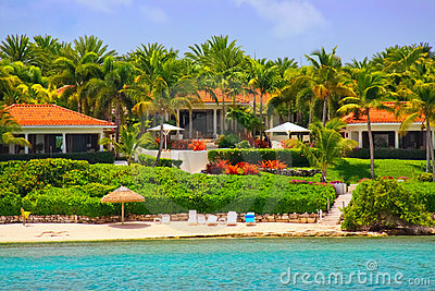 Luxury waterfront mansion with beach on Antigua