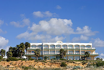 Luxury white Spanish hotel on the beach