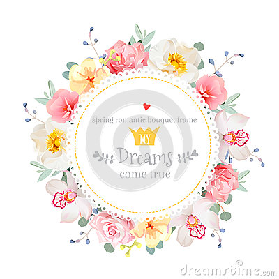 Free Luxury Wild Rose, Orchid, Carnation, Pink Flowers, Blue Berries And Eucalyptus Leaves Round Vector Frame Stock Image - 72502131