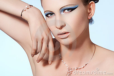 Luxury woman model, fashion chic brilliant jewelry