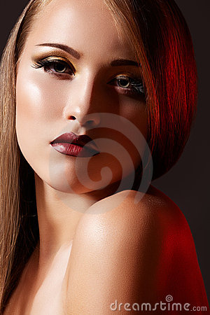 Luxury woman model with fashion retro lips make-up