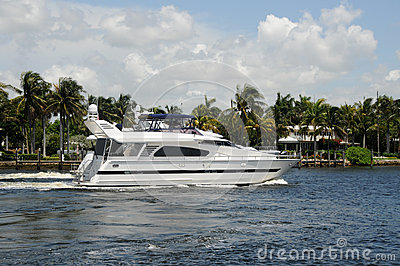 Luxury yacht on a Florida waterway