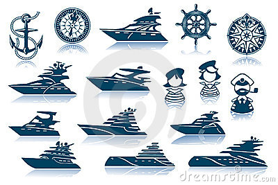 Luxury Yacht Icon Set