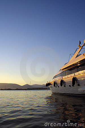 Luxury yacht in morning light