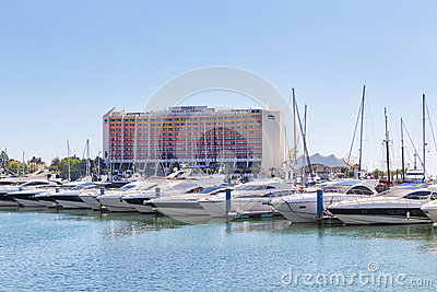 Luxury yacht in the port of Vilamoura in Portugal, near the hote Editorial Stock Image