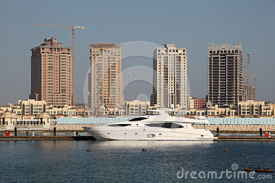 Luxury yacht in Porto Arabia, Doha