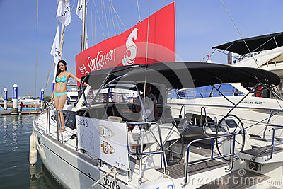 Luxury yacht sense 43 with a model Editorial Stock Photo