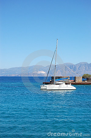 Luxury yacht and turquoise Aegean Sea