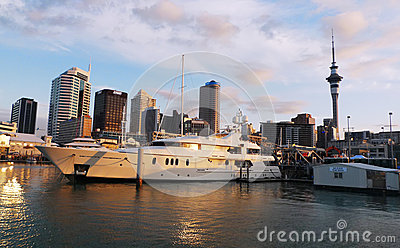 Luxury yacht at waterfront in Auckland, New Zealand Editorial Photo