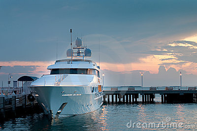 Luxury yatch at the docks at sunset
