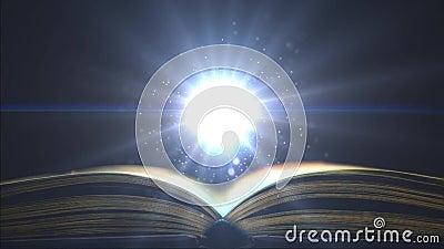 Luz brillante en la educación Libración fantástica de las partículas sobre el libro Lugar para la muestra almacen de metraje de vídeo
