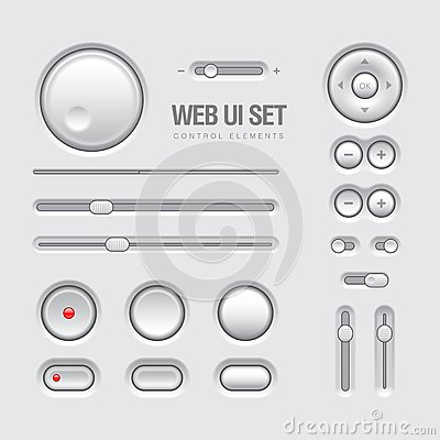 Luz do projeto dos elementos da Web UI - cinza