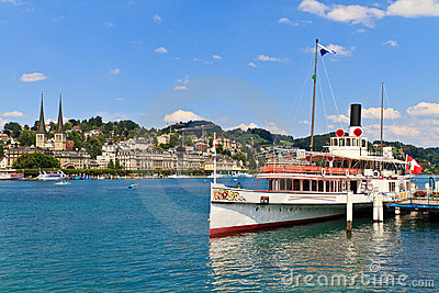 Luzern City view with Steam Ship, Switzerland