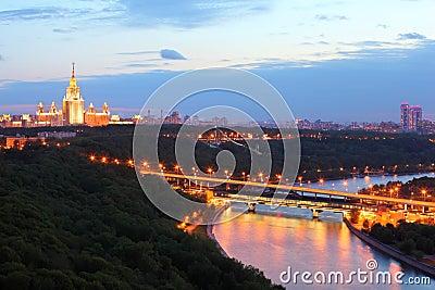 Luzhnetsky metro bridge, MSU, panorama of Moscow
