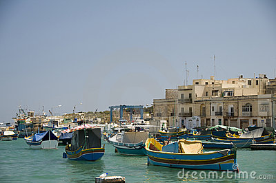 Luzzu boats in marsaxlokk malta fishing village