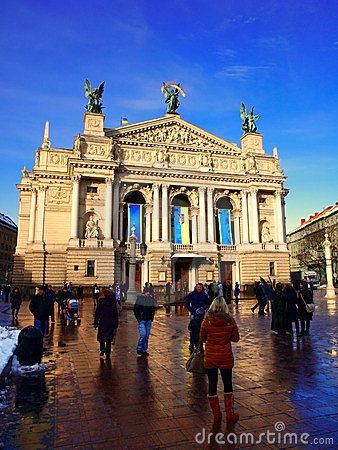Lviv Opera and Ballet Theater Square Editorial Image