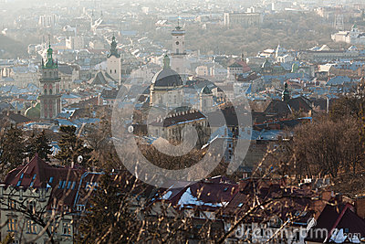 Lviv in sunny haze