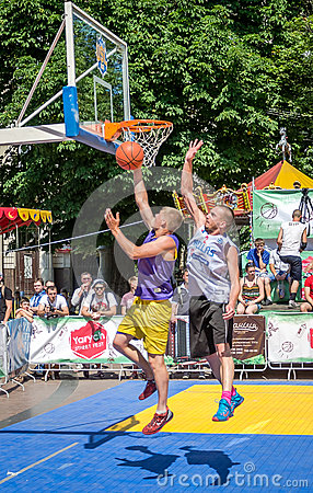 Free Lviv, Ukraine - July 2015: Yarych Street Fest 2015. Street Basketball Competition At The Festival Near Lviv Opera House. Players F Stock Image - 56305121