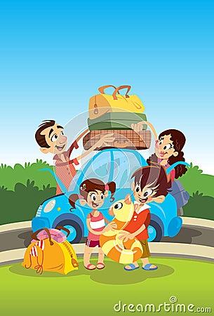 Familj som förbereder sig för semestrar