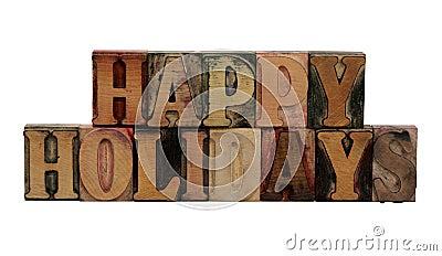 Lycklig ferieboktryck letters trä