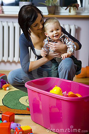 Lycklig moder för barn
