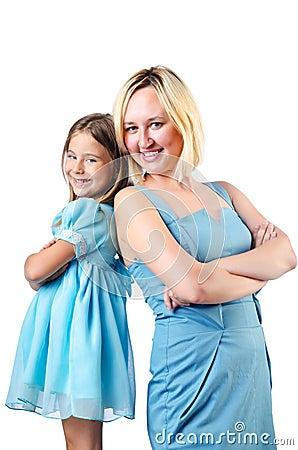 Lycklig mom och dotter