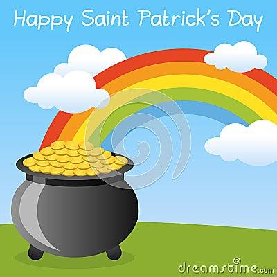 Lycklig St Patrick s kruka av guld-