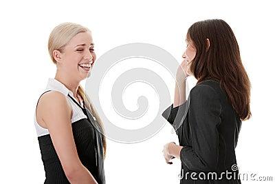 Lyckliga två kvinnor