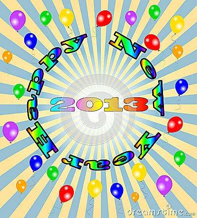 Lyckligt nytt år för vektor - 2013 färgrika bakgrund