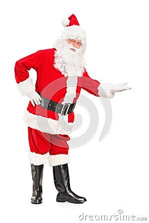 Lyckligt Santa Claus göra en gest