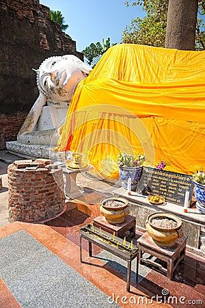 Lying Buddha in Ayuthaya, Thailand,