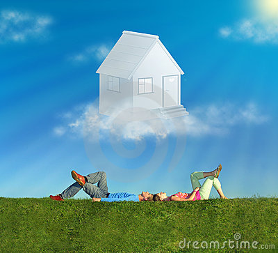Free Lying Couple On Grass And Dream House Collage Stock Images - 12540134