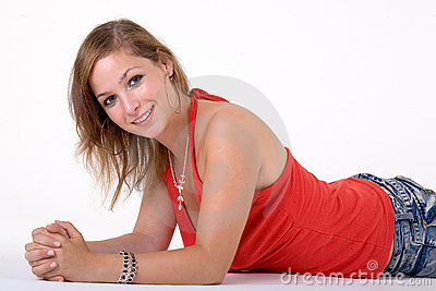 Lying girl in red top
