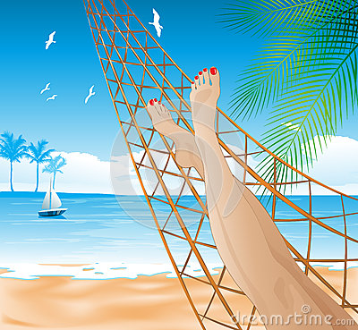 Lying in the hammock on the beach