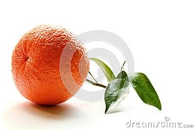 Orange with leaf